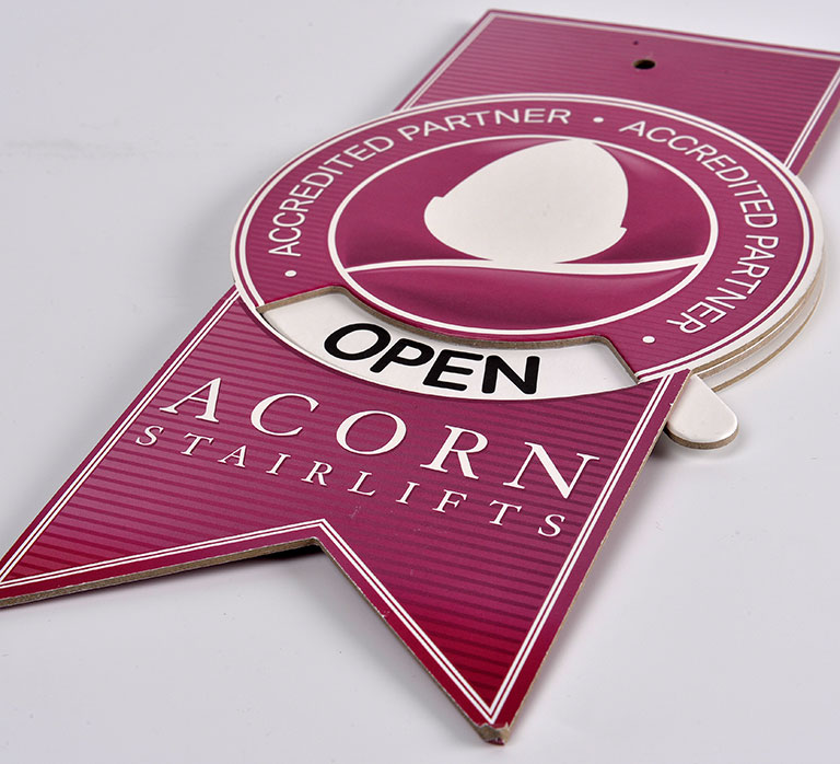 Die-cut opening sign